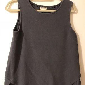 Grey cotton poly blend hi-lo tank